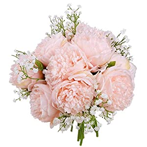 Nrpfell Vintage Peony Artificial Flowers - 2 Pack Silk Flowers Bouquet 10 Heads Peony Fake Flowers for Wedding Home Decoration 2