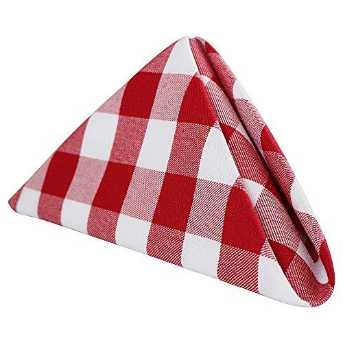 "Check Linen (Sigmatex - Lanier Textiles 100% Murata Jet Spun (MJS) Polyester Cloth Napkins, 20"" x 20"" Finished Size, 1 Dozen (Red and White Checks))"