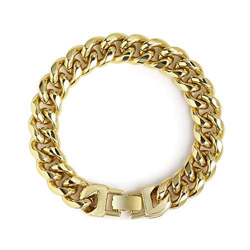 QueenDream Link Cuban Curb 14MM Wide Chain Bracelet Women Link Bracelet 8.6inches ()