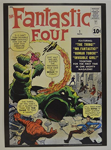 Stan Lee signed Fantastic Four #1 Comic Cover Vintage MARVEL 20x28 Poster autographed Stan Lee Hologram from myautographshop