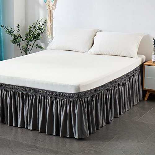 (Cozylife Three Fabric Sides Wrap Around Elastic Solid Bed Skirt, Easy On/Easy Off Dust Ruffled Bed Skirts 14 Inch Tailored Drop (King/Cal-King, Gray))