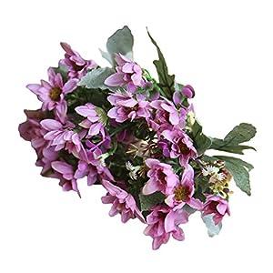narutosak Artificial Flowers 25 Heads/1 Bouquet Flowers Plant China Aster Simulation Wedding Decor - Dark Purple 114