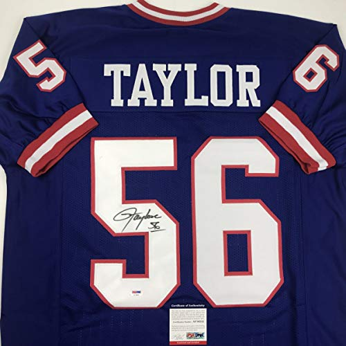 Autographed/Signed Lawrence Taylor New York Blue Football Jersey PSA/DNA COA ()