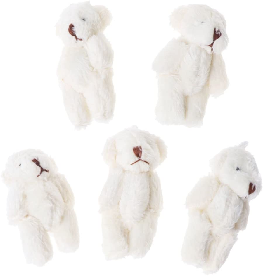 ZJL220 Mini Osito de Peluche 5 UNIDS Kawaii Osos Pequeños de Peluche Juguetes Suaves Perla Terciopelo Muñecas Regalos Blanco