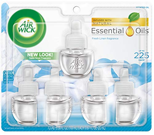 Air Wick plug in Scented Oil 5 Refills, Fresh Linen, (5x0.67oz), Same familiar smell of fresh laundry, New look, Packaging May Vary, Essential Oils, Air Freshener