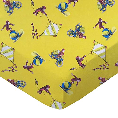 SheetWorld 100% Cotton Percale Fitted Crib Toddler Sheet 28 x 52, Curious George Fun, Made in USA