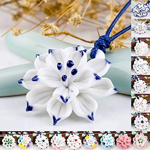 wangxiyan Ceramic Ornaments, Green Flower and Porcelain Necklace, Necklaces of Bauhinia, Flower and Lotus Flower Handmade Sweater Chain(White,one Size) (Flowers Porcelain Necklace)