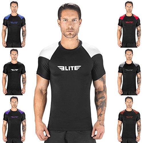 Elite Sports NEW ITEM Standard Short Sleeve Compression, MMA, BJJ, No-Gi, Cross Training Rash Guard (White, Large)