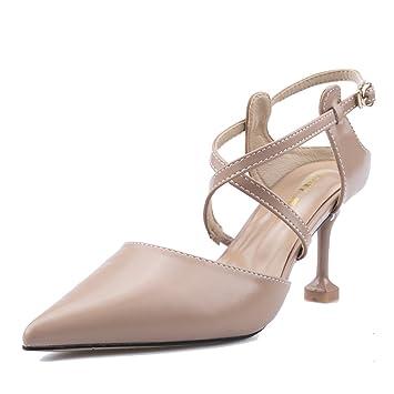 Frauen Nude Farbe Spitz Stilettos High Heel Damen Heels Sexy Flachen Mund Gericht SchuheNude-7cm-EU:36/UK:4