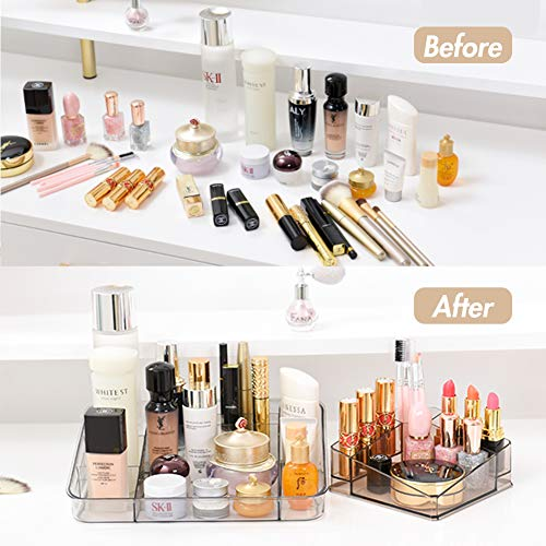 2 Pack Clear Makeup Organizer Lipstick Organizer Great for Bathroom Vanity Counter Tops, Dressing Tables, Cosmetic Stations