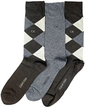 Calvin Klein Men's Diamond Crew Socks- 3 Pack