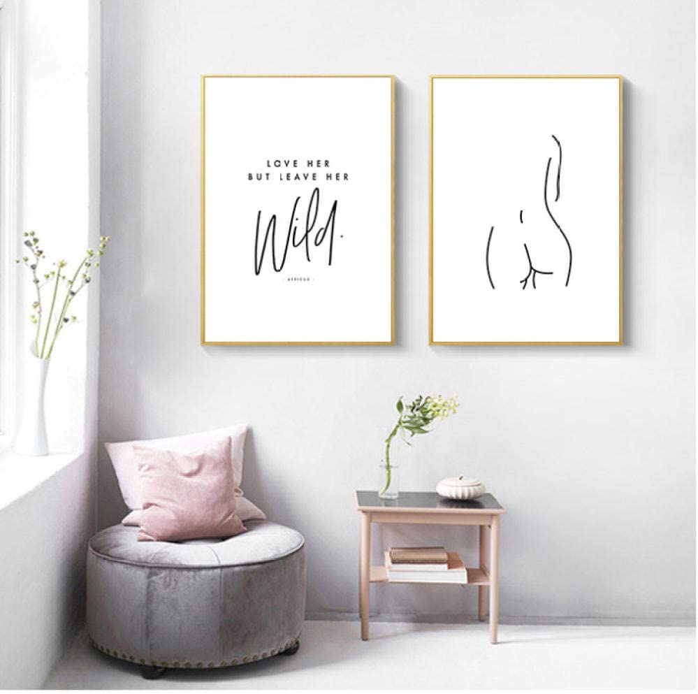 Line Drawing Wall Art Canvas Poster Abstract Woman Body Simple Painting Minimalist Print Decorative Picture Living Room Decor 40x50cmx2 Unframed Amazon Co Uk Kitchen Home