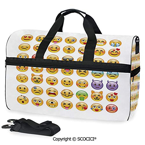 (Travel Duffel Bag Set of Emoticons with Various Personalized choice)