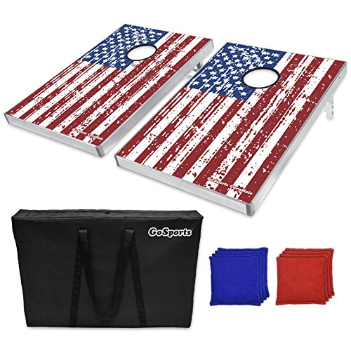 (GoSports American Flag CornHole Bean Bag Toss Game Set (8 Bags per Pack), 3 x 2-Feet)