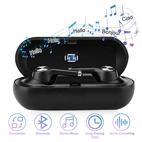 fosa Translator Earbuds with Gift Charging Box,2 in 1 Bluetooth Headphone/Real Time Wireless Language Translator Earphone Device Voice Translation Support 19 Languages Dual Mic & Noise Reduction