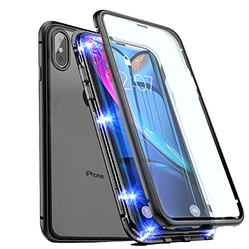 Magnetic Case for iPhone XR, EAZY2HD iPhone Case Front and Back Tempered Glass 360°Protection with Built-in Magnet Cover, Ultra Slim Magnet Adsorption Case (Black, iPhone XR)