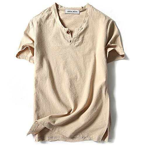LOCALMODE Men Linen and Cotton V neck Short Sleeve T Shirts Casual Tee Beige L
