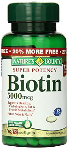 Nature's Bounty Super Potency Biotin 5000mcg - 72 softgels (Pack of 2)