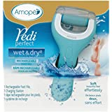 Amopé Pedi Perfect Wet & Dry Electronic Foot File, Regular Coarse - Waterproof, Rechargeable, Cordless, Dual Speed