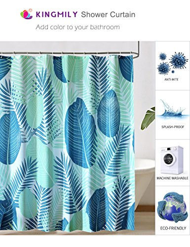 Kingmily Green Plants Fabric Shower Curtain, Fan Leaves, Blue Green (72-by-72 inches, Design 5) (Blue Shower Curtain Green)
