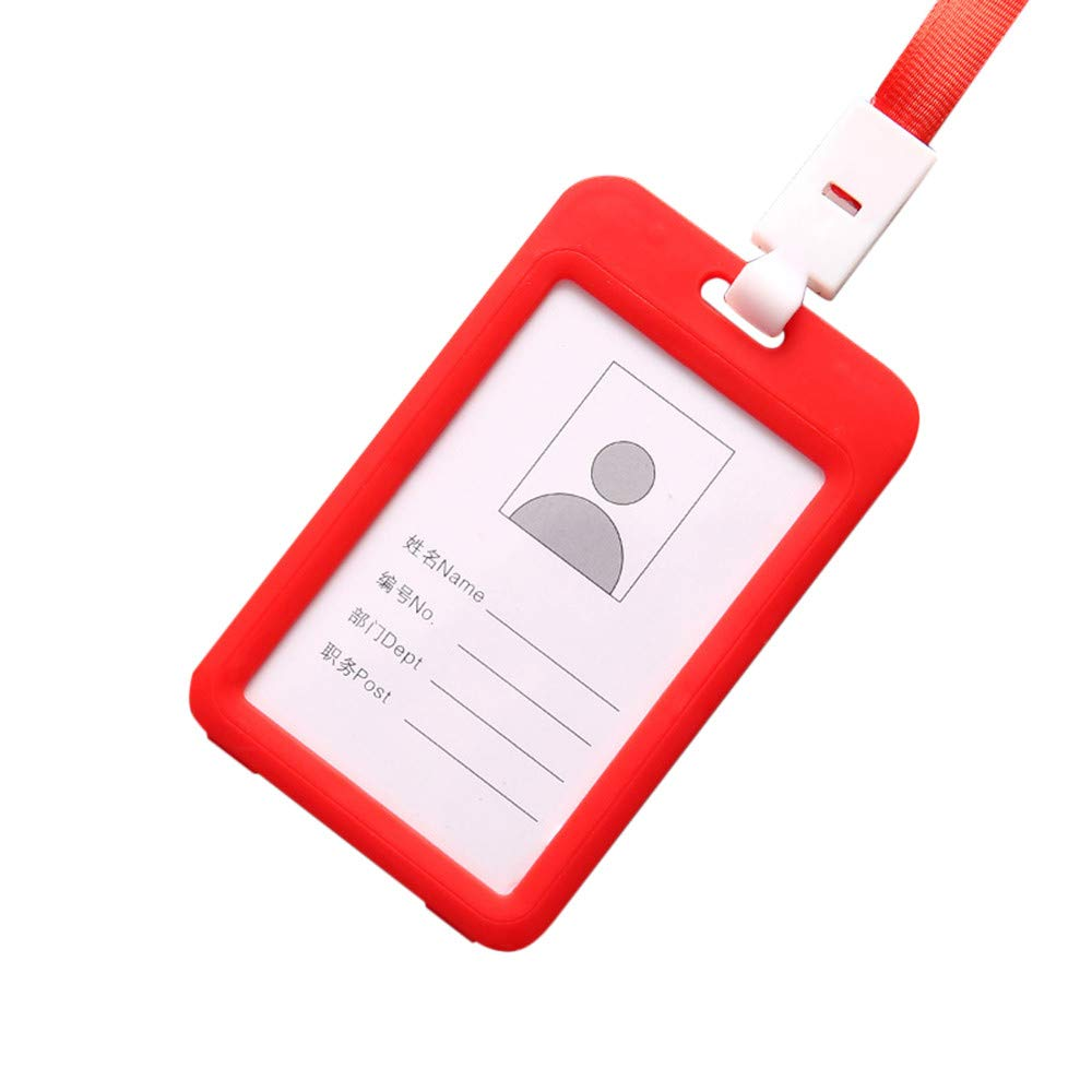 Badge Holder with Lanyard Plastic ID Card Holder Name Tag Vertical Clear Credit Card for Office School Men Women (Red)