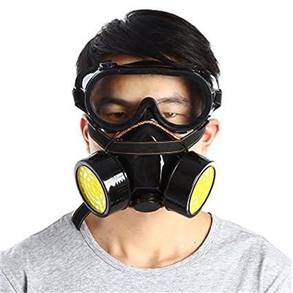 Máscara de Gas de Doble Filtro, Filtro de Fuego, respirador químico, Máscara para