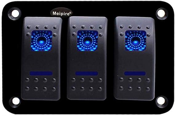 Meipire 12 24 V Dc On Off Led Wippschalter Kippschalter Panel Anzug Für Auto Rv Marine Boat 3gang Auto