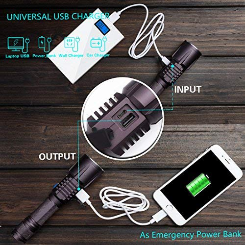 Genwiss Tactical USB Powerful Flashlight Ultra Bright Led Recargable High 2000 Lumen Torch Linterna with 18650 Battery Intelligent External Battery Pack Power Mobile Bank for Smartphones Tablets