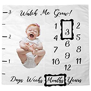 Sricam Unisex Baby Milestone Blanket Includes Picture Frame, Baby Shower Gift