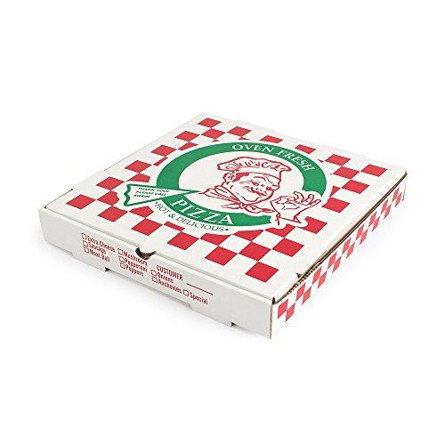 "Pratt PRA1318 Pizza Box, B-Flute, Oven Fresh Pizza Print, 1 7/8"" Deep, 18"", White/Kraft (Pack of 50)"