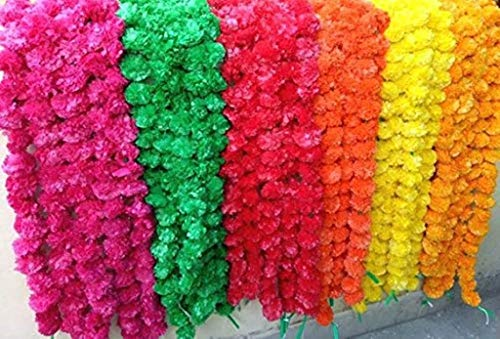 Nexxa 5 ft Long (Pack of 10) Artificial Mixed Marigold Flower Garlands- for use in Home Parties Diwali Ganesh Fest Decor, Celebrations, Indian Weddings, Indian Themed Event, House ()