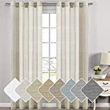 Bedroom Elegant Natural Linen & Poly Light Filtering Semi Sheers Curtains/Nickel Grommet Window Treatments Panels/Drapes, Privacy Assured(Set of 2, Natural, 52 Wide x 108 Inch Long)