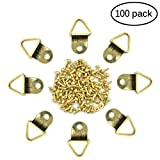 eZAKKA 100 Pieces Triangle D-Ring Picture Frame Hangers Hanging with 100 Screws for Painting Mirror Clock Photo Frame