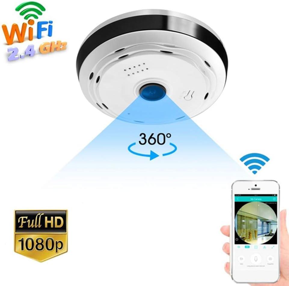 Macabolo 360 Grados Panorama Gran Angular Mini Cámara Smart IP Cámara Wireless Fisheye Lens Security Home WiFi IP Cámara Blanco Blanco 960P