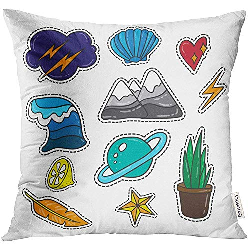 - Throw Pillow Cover Patch Collection Lifestyle Quirky Cartoon Badges Pins and Patches Kids Decorative Pillow Case Home Decor Square 18x18 Inches Pillowcase