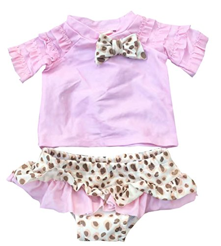 Baby Little Girls Swimwear Fish Swimsuit Tankinis Two Piece Rash Guard Set (Pink Leopard Set, 18-24Month) (Fish Pink Leopard)