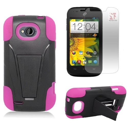 [SlickGearsTM] Heavy Duty Dual Layer Impact Armor Kickstand Case for ZTE Reef N810 aka ZTE AWE N800 (Virgin Mobile) ZTE Savvy Z750C (Straight Talk, Net10, TracFone) + Premium Screen Protector Combo (Pink) (Virgin Mobile Awe Case compare prices)