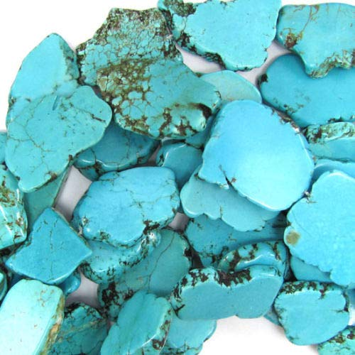 ShopForAllYou Design Beads 30mm - 40mm Blue Turquoise Freeform Slab Nugget Beads 15.5