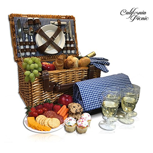 Picnic Basket Set - 4 Person Picnic Hamper Set - Waterproof Picnic Blanket Ceramic Plates Metal Flatware Wine Glasses S/P Shakers Bottle Opener Blue Checked Pattern Lining Picnic Set