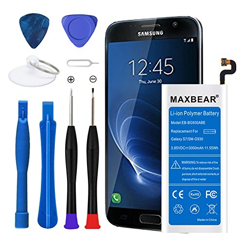 Galaxy S7 Battery, MAXBEAR [3000mAh] Lithium Ion Polymern Built-in Battery EB-BG930ABE Replacement for Samsung Galaxy S7 SM-G930 G930V G930A G930T G930P G930F with Open Tool.[12 Month Warranty]