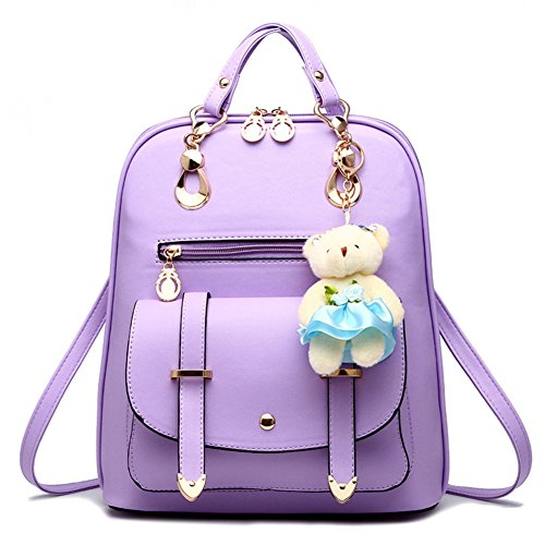 Purple Bestpriceam Korean Style Boys Girls Nylon Backpack for Back to School