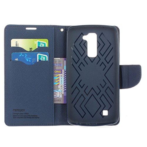 LG K7 Funda,COOLKE Dos Colores Funda Carcasa Cuero Tapa Case Cover Para LG K7 - Menta Menta