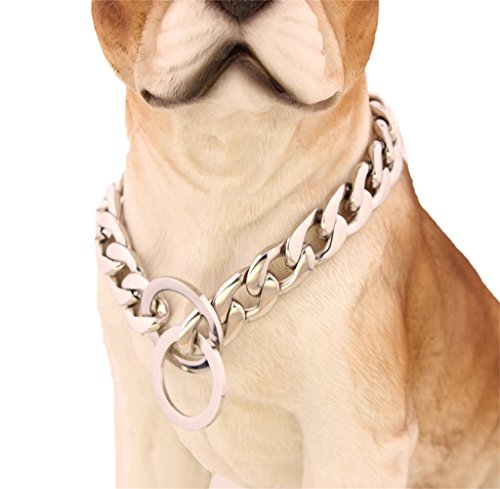 W&W Lifetime Handmade Custom 15MM Wide Large Stainless Steel P Chock Metal Chain Training Dog Pet Collar Necklace