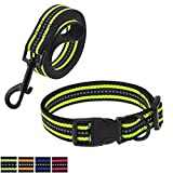Mile High Life Night Reflective Double Adjustable Band Nylon Small Puppy Pet Dog Combo (Lime Green, Collar Leash Harness, Small Neck 12'-17' -20 lb)