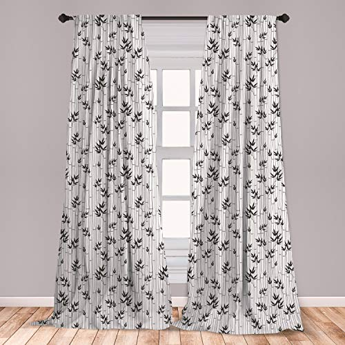 "Ambesonne Asian Window Curtains, Monochrome Bamboo Pattern with Leaves Foliage Elements Chinese Forest Design, Lightweight Decorative Panels Set of 2 with Rod Pocket, 56"" x 84"", White Charcoal"