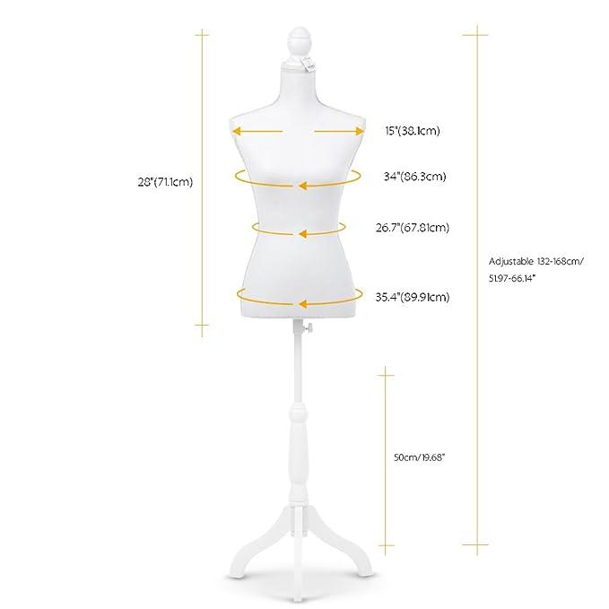 iKayaa Maniquí Busto Femenino Ajustable con Trípode de Madera de Pie Perchero de Vestido Color Blanco