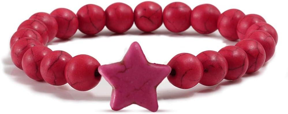 JJDSL Pulsera De Piedra,Rosa Roja En Piedra Natural Pentagram Beads Encanto Pulseras Encanto Handmade Strand Bracelet para Hombres Mujeres Vintage Joyería Regalo