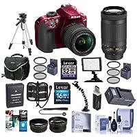 Nikon D3400 DX-Format DSLR Camera Body with AF-P DX NIKKOR 18-55mm F/3.5-5.6G VR Lens, Red - Bundle with 16/32GB SDHC Card, Camera Bag, Spare Battery, Tripod, Video Light, Software Package, More