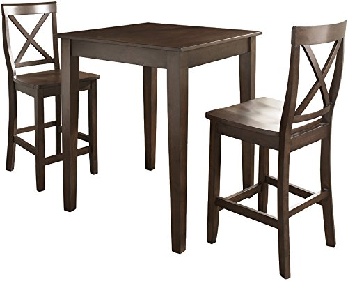 (Crosley Furniture KD320005MA 3-Piece Pub Set with Tapered Leg Table and X-Back Stools, Vintage Mahogany)