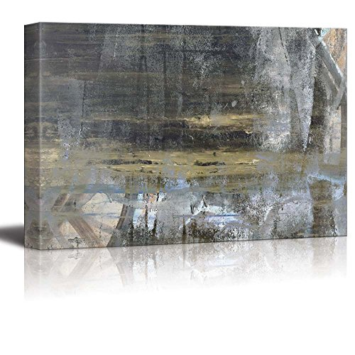 wall26 Abstract Painting of the Beach Shore with Reflection and Silver Textured Stripes - Canvas Art Home Decor - 24x36 inches